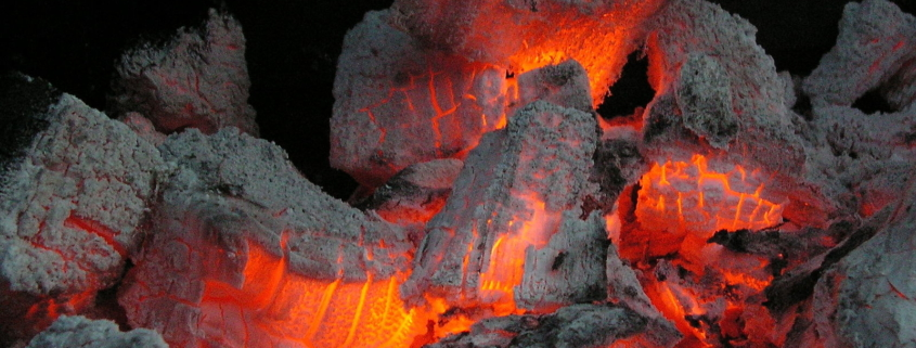 Glowing coals from a BBQ