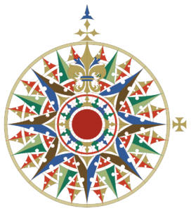 image of a multicolored compass