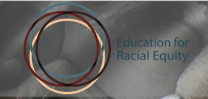logo for Education for Racial Equity on a grey background with overlapping circles of red, blue, and yellow