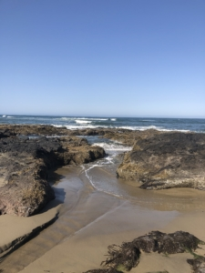 picture of a sandy beach with big rocks and a blue sky